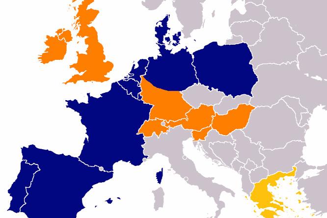 185d2f1f2d9f Országok, ahol az Aldi jelen van (kékkel: Aldi Nord, narancssárgával: Aldi  Süd. Görögországból már kivonult az Aldi Süd).Forrás: Wikipedia