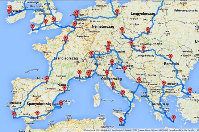 Europa Terkep Utvonaltervezo Terkep 2020