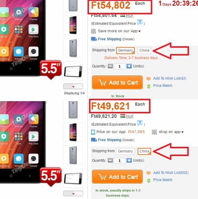 ecfdf00231a5 Fenn a drágább német raktárból rendelhető telefon, alatta a Kínából. Bár a  német drágább, de vám- és adómentesForrás: Origo, Tinydeal