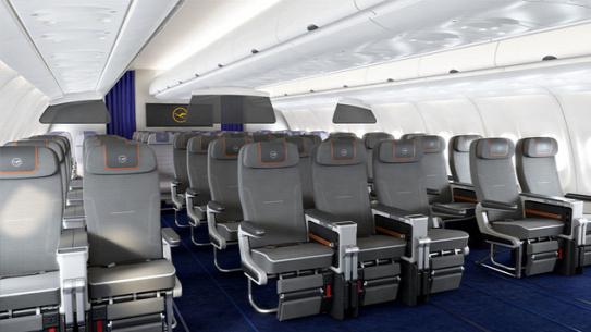 ab623a2b3225 Mélyebbre dönthető ülések, állítható lábtartók. Galéria: Lufthansa prémium  turistaosztályFotó: lufthansagroup.com