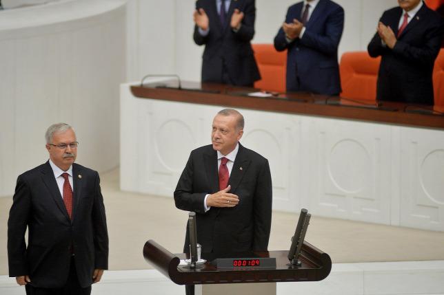 cf0689dc70 Az újraválasztott török elnök, Recep Tayyip Erdogan leteszi az államfői  esküt a török parlamentben Ankarában.Forrás: MTI/EPA/-------------------
