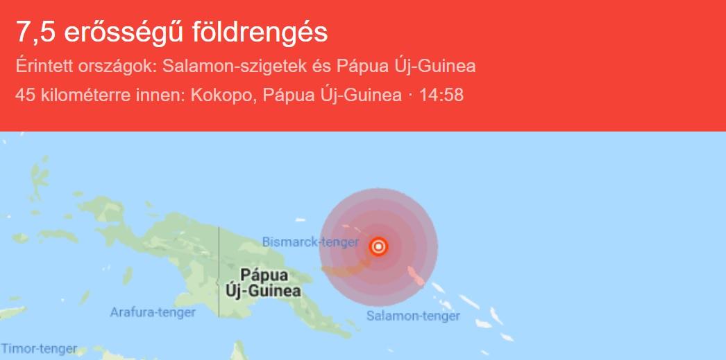 Földrengés volt a Csendes-óceánon, hatalmas szökőár várható
