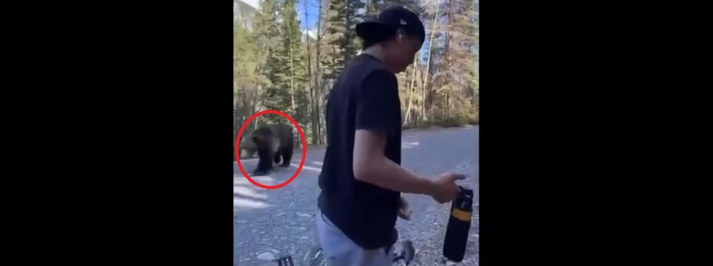 Medvével találkoztak a kerékpárosok, meglepő vége lett - videó