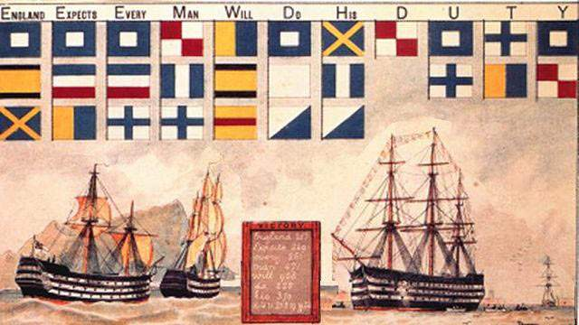 Nelson admirális üzenete, amelyet a Trafalgari ütközet során küldöttKép: Wikimedia