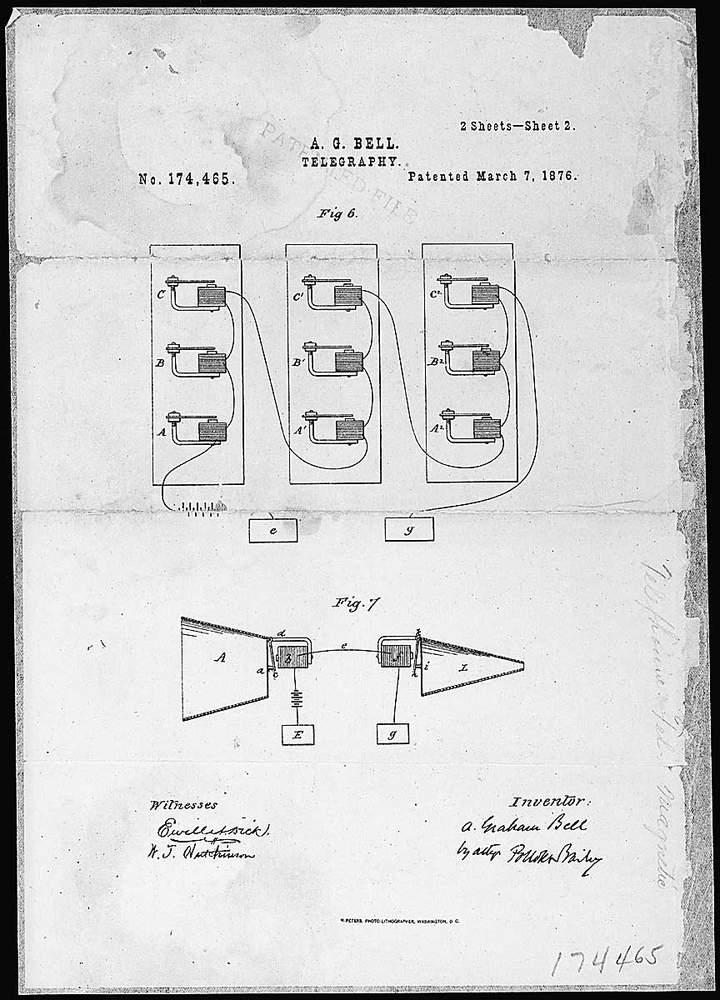 Alexander Graham Bell telefonjának szabadalmi rajzaKép: Wikimedia